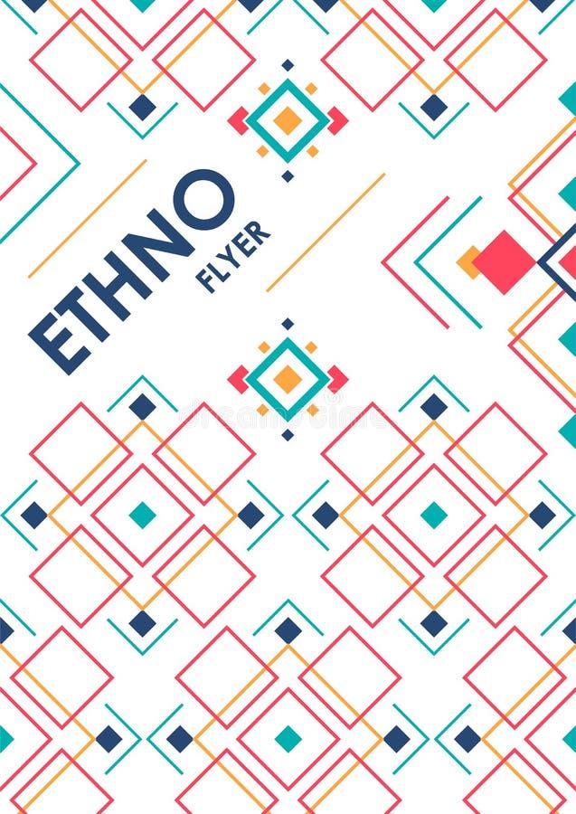 与几何种族装饰品的垂直的背景 与地方的ethno抽象海报模板文本的 皇族释放例证