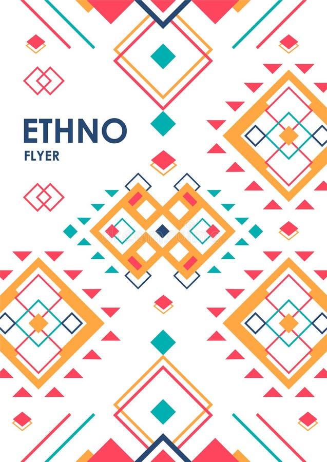 与几何种族装饰品的垂直的背景 与地方的ethno抽象海报模板文本的 库存例证