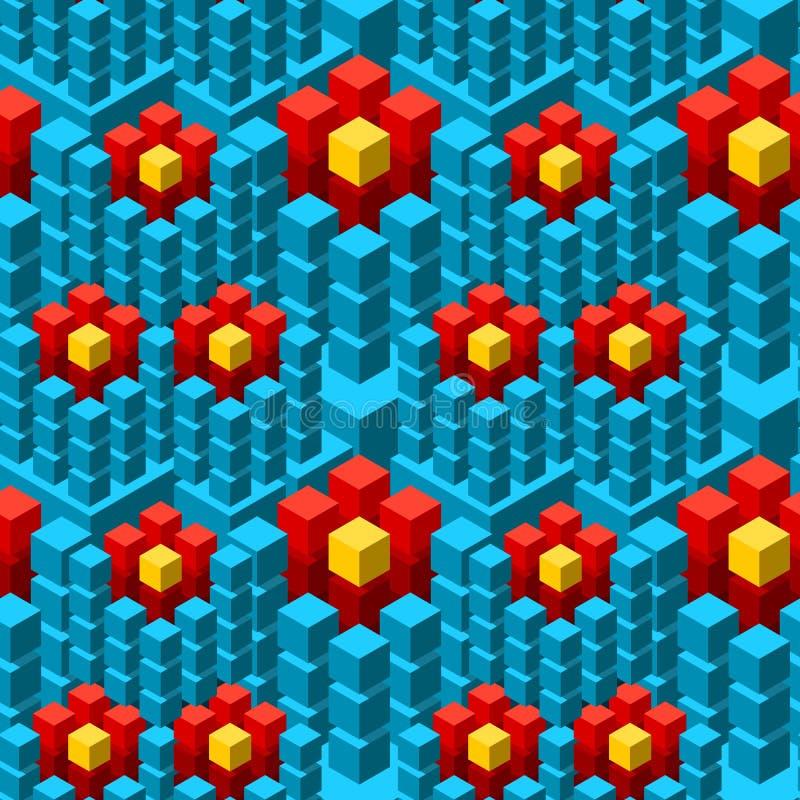 与几何立方体五颜六色的铺磁砖的装饰品的无缝的样式 皇族释放例证