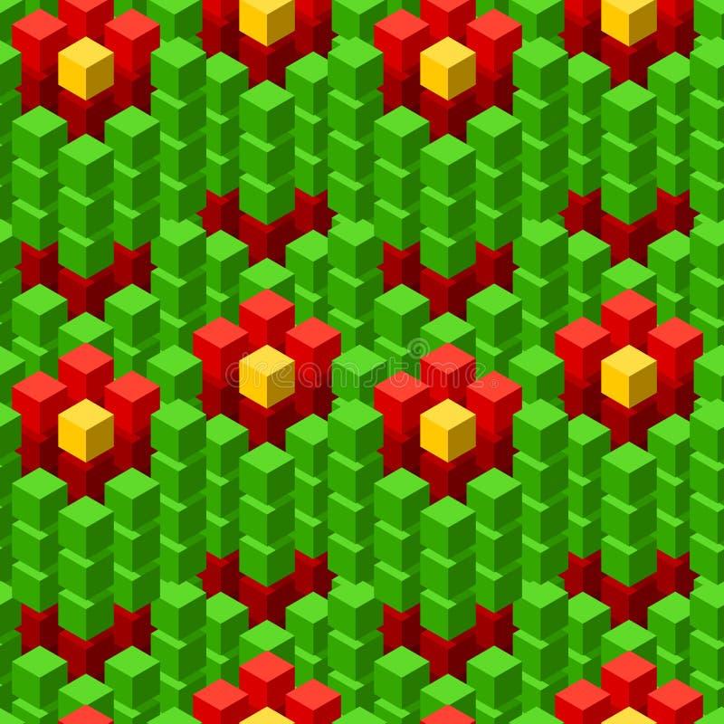 与几何立方体五颜六色的铺磁砖的装饰品的无缝的样式 库存例证