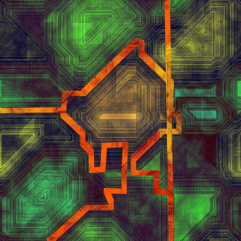 与几何等高线的抽象未来派现代背景 向量例证