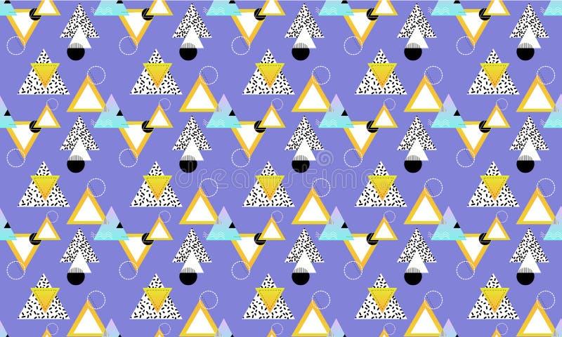 与几何简单的形状的抽象无缝的样式 黑,白色,蓝色和金形象的组合 皇族释放例证
