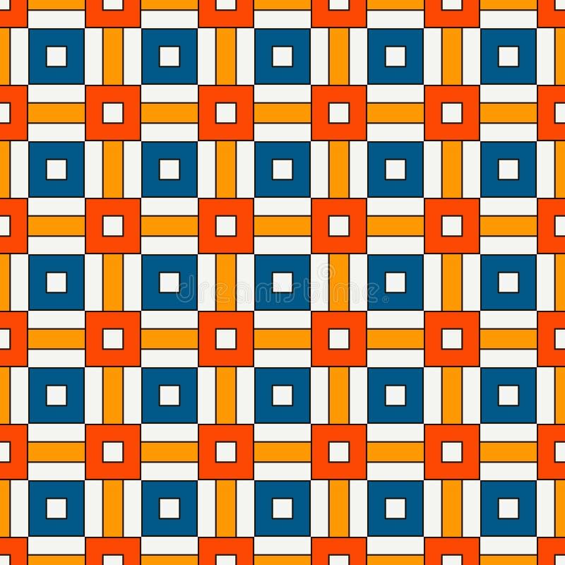 与几何装饰品的无缝的样式 重复的明亮的正方形和条纹抽象背景 生动的表面纹理 库存例证