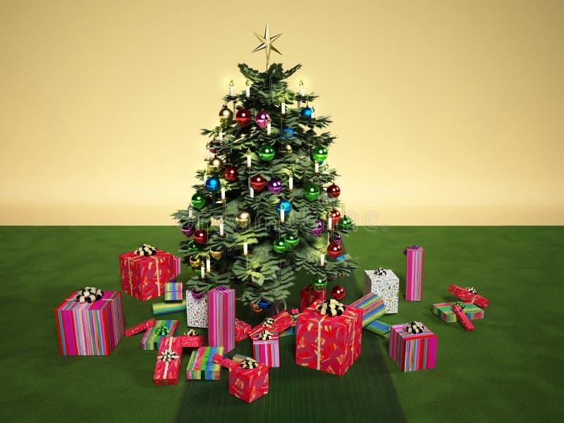 与几件礼物的Christmass树,在一张绿色地毯 向量例证