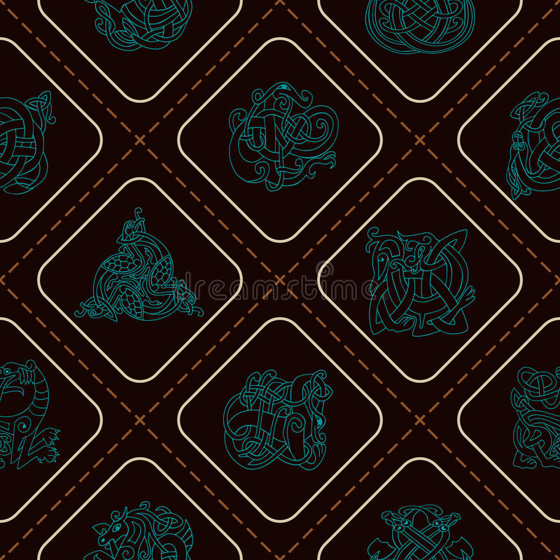 与凯尔特艺术和种族装饰品的无缝的样式 库存例证