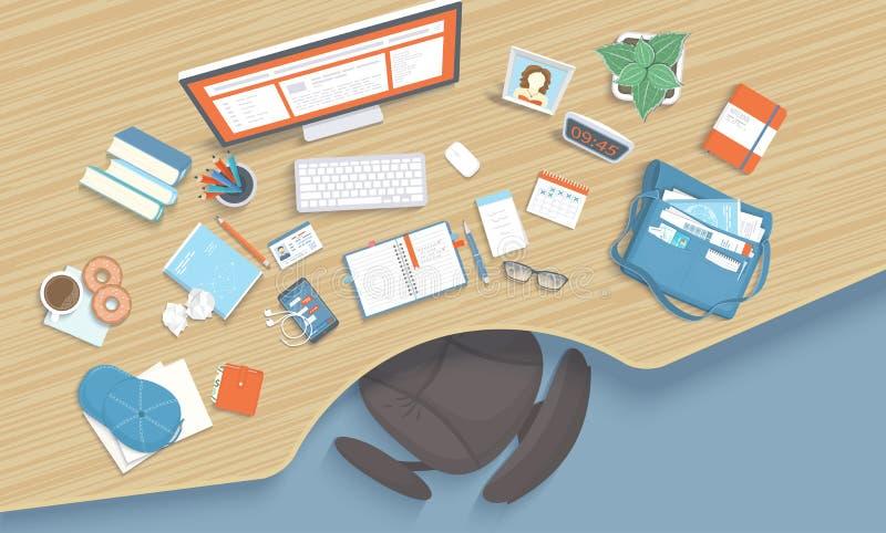 与凹进处的木桌,椅子,显示器,书,笔记本,耳机,电话 现代和时髦的工作场所 皇族释放例证