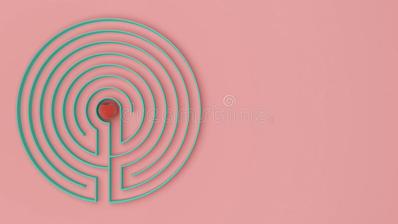 与出入的圆的桃红色和绿松石迷宫迷宫比赛,发现道路对苹果概念,爱诱惑背景我 皇族释放例证