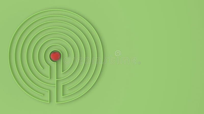 与出入的圆的绿色迷宫迷宫比赛,发现道路对苹果概念,爱诱惑与拷贝的背景想法 库存例证