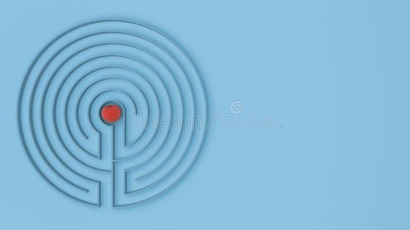 与出入的圆的蓝色迷宫迷宫比赛,发现道路对苹果概念,爱诱惑与拷贝的背景想法 皇族释放例证