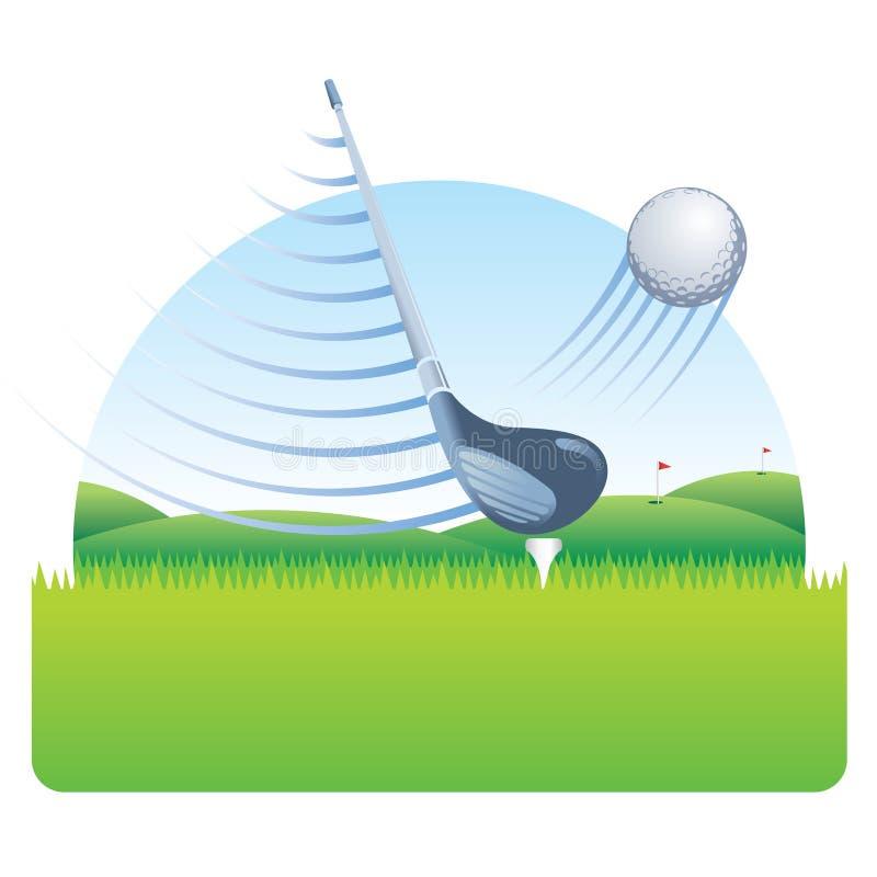 与击中与速度线的速度线的高尔夫俱乐部高尔夫球在与一个高尔夫球场的一片草地有天空蔚蓝的 库存例证