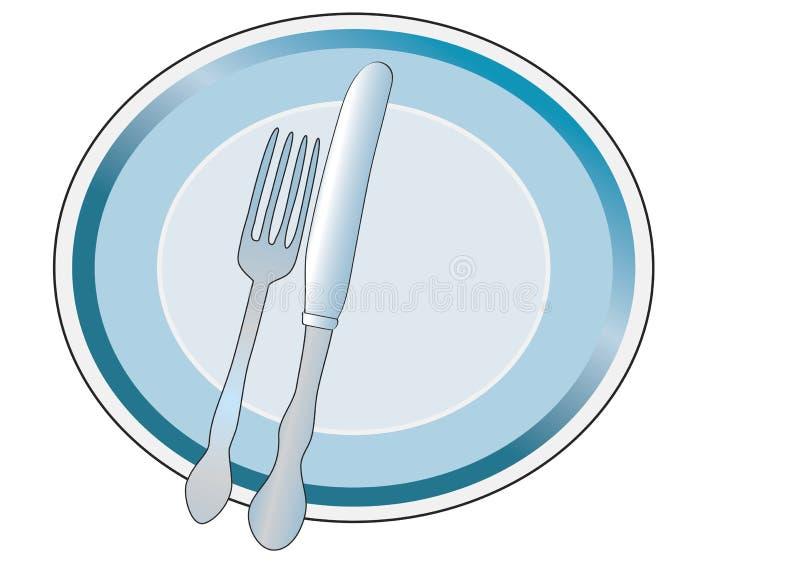 与刀子和叉子的牌照 向量例证