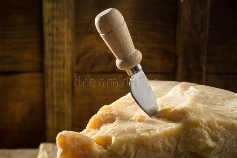 与刀子的帕尔马干酪在黑暗的背景的木板 库存图片