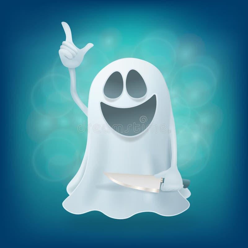 与刀子的笑的滑稽的动画片鬼魂字符 皇族释放例证