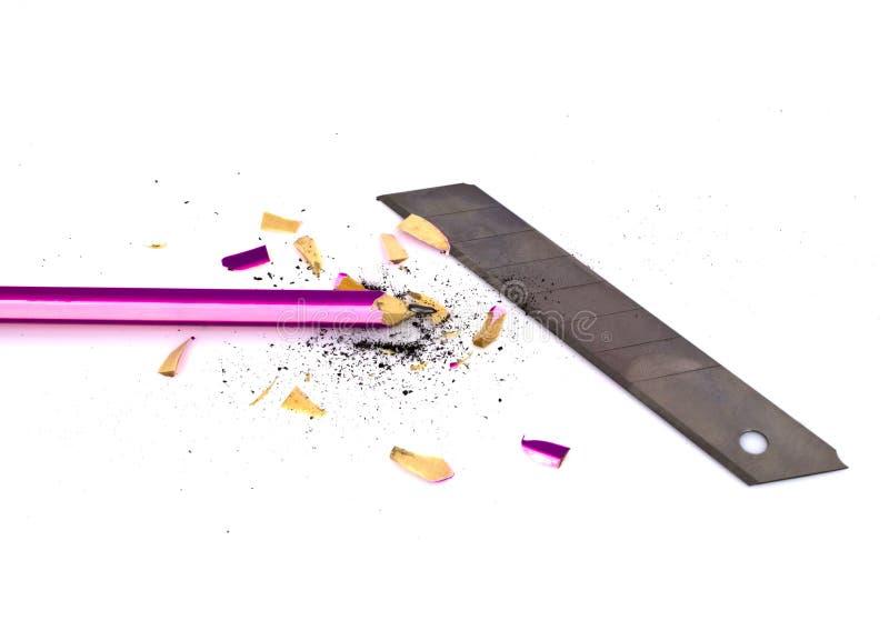 与刀片的铅笔和磨削器 免版税库存图片
