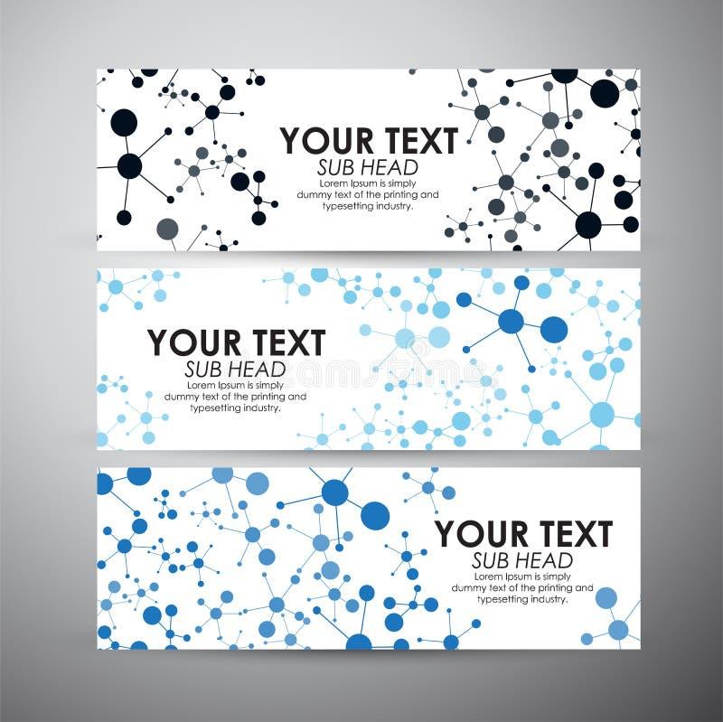 与分子的抽象蓝色科学背景 传染媒介横幅设置了背景 库存例证