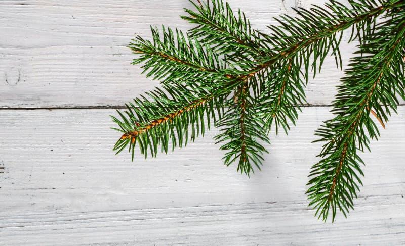 与分支冷杉装饰的圣诞节背景在白色木头 免版税库存照片