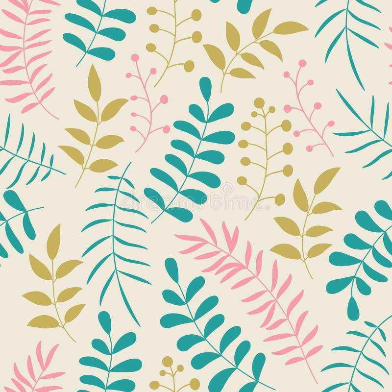 与分支和叶子的逗人喜爱的五颜六色的花卉无缝的样式 乱画森林背景 皇族释放例证