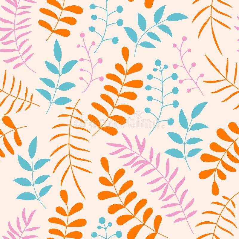 与分支和叶子的逗人喜爱的五颜六色的花卉无缝的样式 库存例证