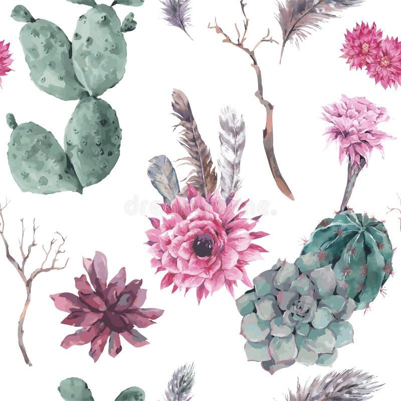 与分支和多汁植物的花卉无缝的样式 皇族释放例证