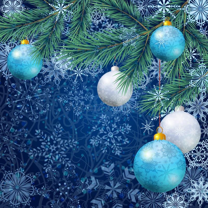 与分支和球的圣诞节背景 库存例证
