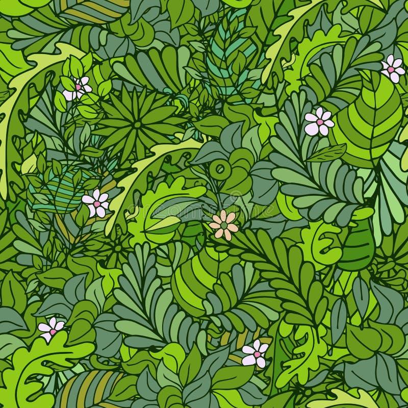 与分支和花的美好的无缝的叶子样式 也corel凹道例证向量 库存例证