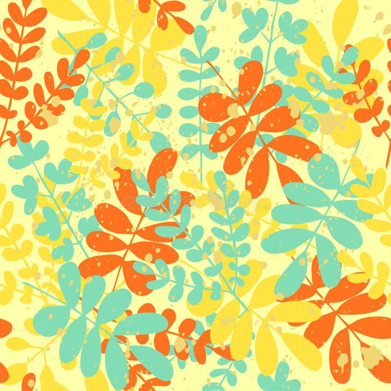 与分支的明亮的五颜六色的无缝的夏天样式 库存例证