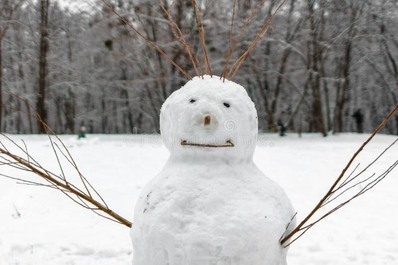 与分支的滑稽的雪人而不是手 库存照片