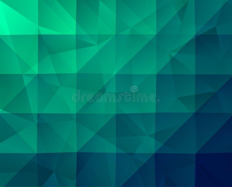 与分数维纹理的摘要绿色几何背景 向量例证
