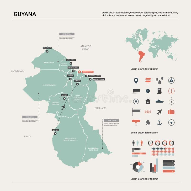 圭亚那的传染媒介地图 与分裂、城市和首都乔治城的高详细的国家地图 E 库存例证