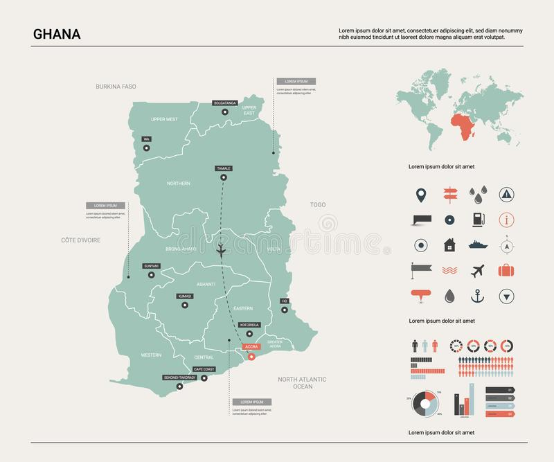 E 与分裂、城市和首都阿克拉的高详细的国家地图 r 皇族释放例证