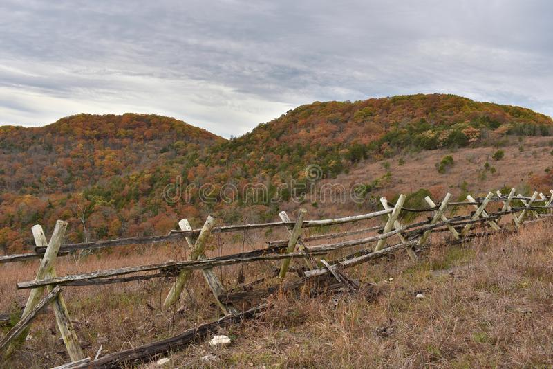 与分裂栅栏的沼地顶面足迹密苏里 免版税图库摄影