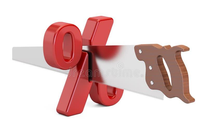 与切口锯的百分号 金融风险概念, 3D回报 库存例证