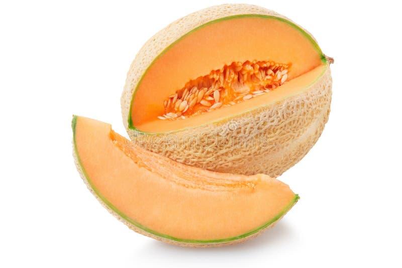 与切片在白色,裁减路线的甜瓜瓜 库存图片