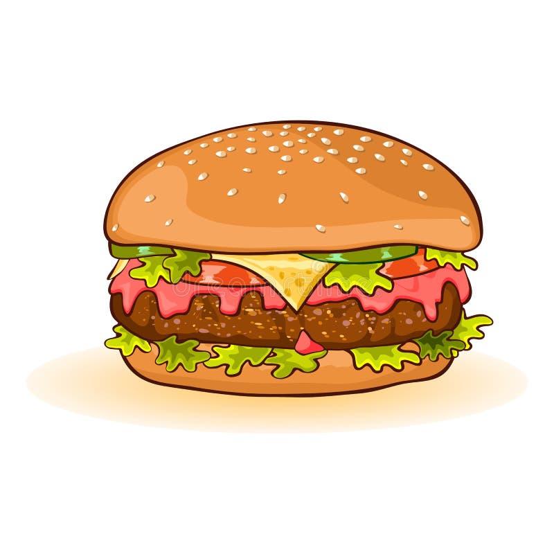 与切片的乳酪汉堡牛肉小馅饼、乳酪、番茄酱、蕃茄、黄瓜或者腌汁,莴苣 皇族释放例证