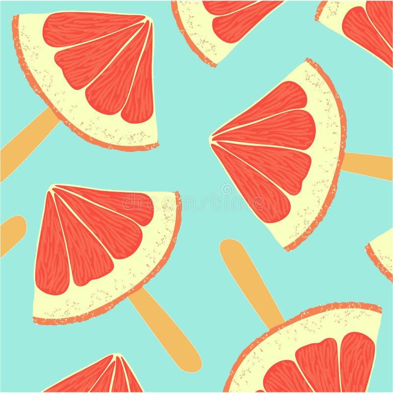 与切片的五颜六色的背景在鞭子的葡萄柚 向量例证
