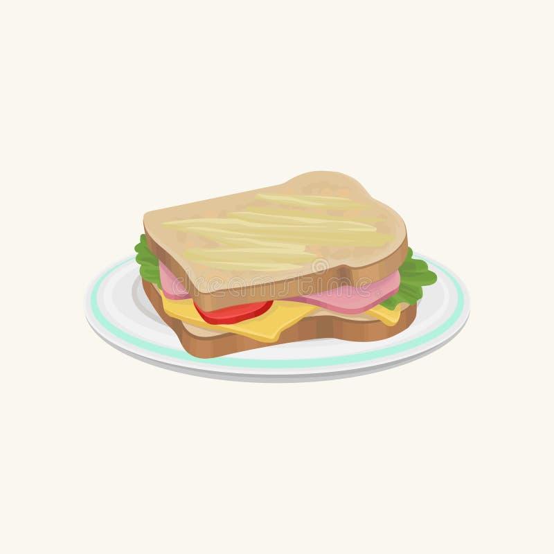 与切片的大三明治乳酪、香肠、新鲜的蕃茄和绿色 快餐概念 可口快餐 传统 向量例证