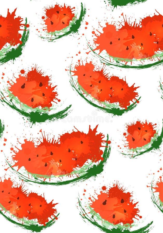 与切片的无缝的纹理西瓜和水彩在白色背景喷洒 库存例证
