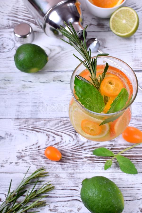与切片的闪耀的饮料石灰、金桔和桔子冠上了用薄菏 免版税库存照片