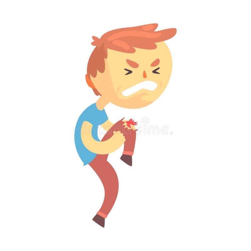 与创伤的男孩字符在他的膝盖动画片传染媒介例证 皇族释放例证