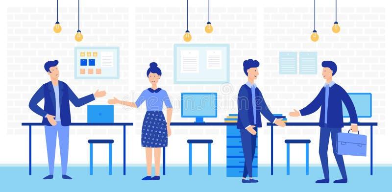 与创造性的办公室人民的Coworking露天场所 传染媒介例证的企业队 向量例证