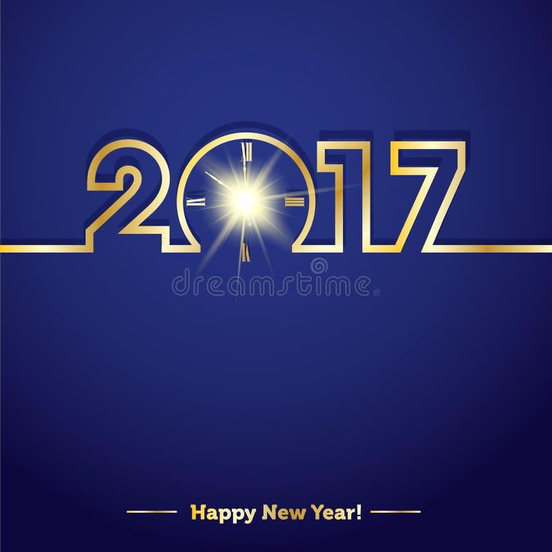 2017年与创造性的午夜时钟的新年快乐 向量例证