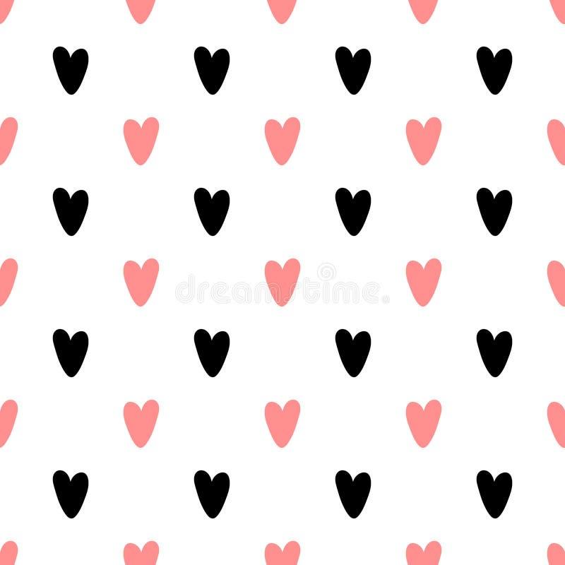 与创造性的形状的心脏无缝的样式在几何样式 库存例证