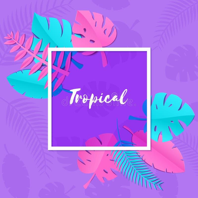 与创造性的桃红色蓝色密林叶子的构成在纸的紫色背景削减了样式 热带叶子紫罗兰玻璃 向量例证