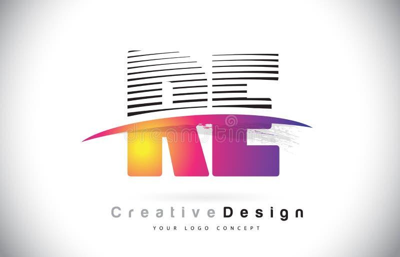 与创造性的线的再R E信件商标设计和Swosh在Purpl 向量例证