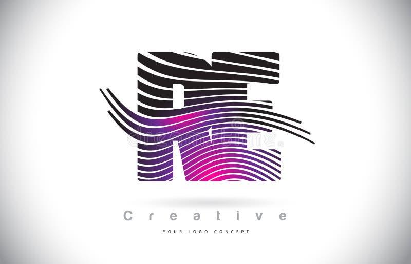 与创造性的线的再R E斑马纹理信件商标设计和 库存例证