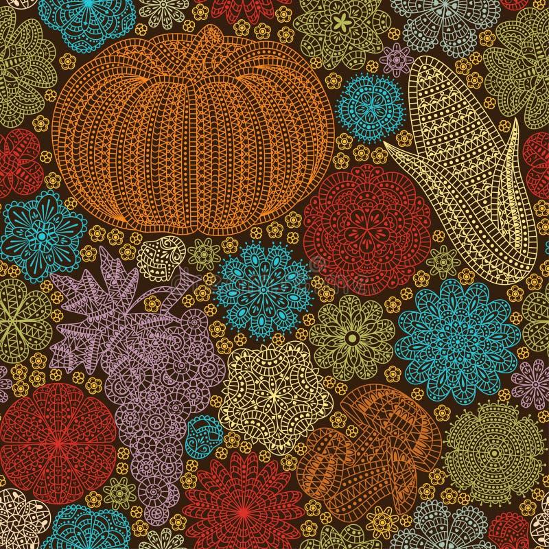 与创造性的菜和花,装饰花卉背景的无缝的样式 皇族释放例证