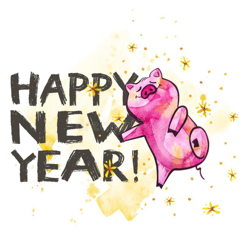 与创造性的2019新年字法的逗人喜爱的猪 年的标志在中国日历的 查出