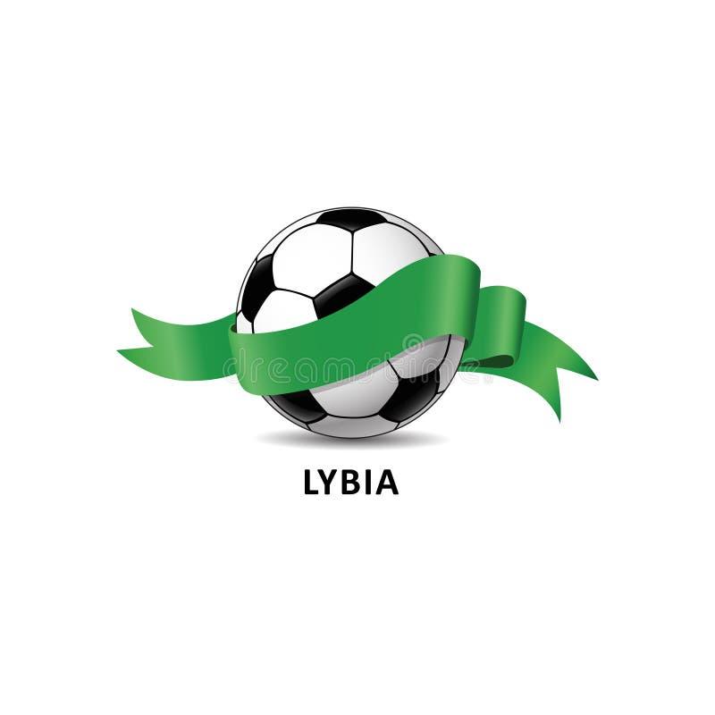 与利比亚国旗五颜六色的足迹的橄榄球球 库存例证