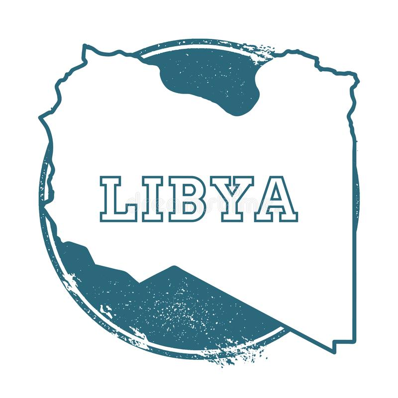 与利比亚的名字和地图的难看的东西不加考虑表赞同的人 库存例证