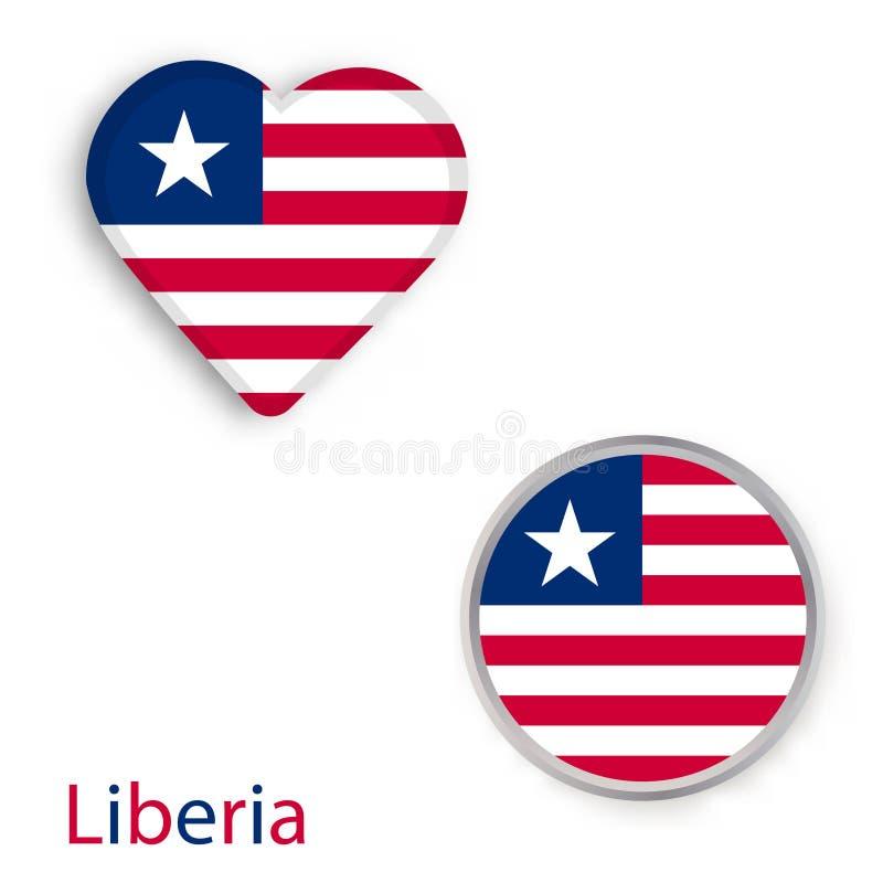 与利比里亚共和国的旗子的心脏和圈子标志 库存例证